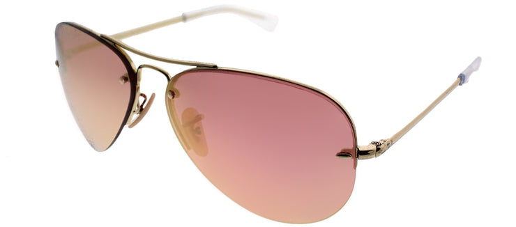 Ray-Ban RB 3449 001/E4 Aviator Metal Gold Sunglasses with Copper Lens