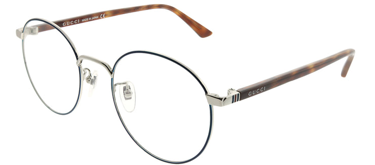 Gucci Korean Fit GG 0297OK 004 Round Metal Blue Eyeglasses with Demo Lens