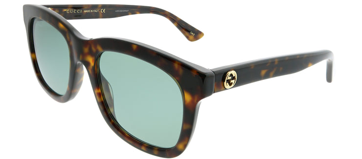 Gucci GG 0326S 002 Square Plastic Tortoise/ Havana Sunglasses with Green Lens