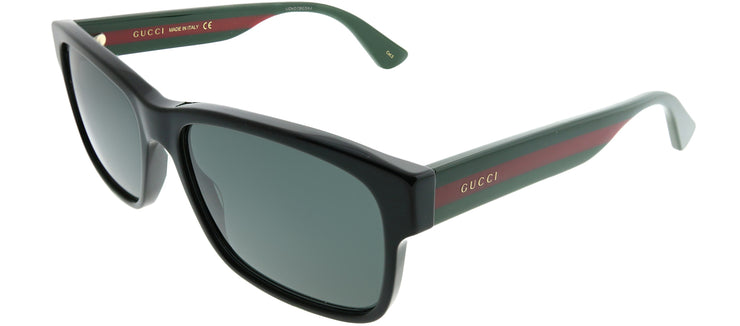Gucci GG 0340S 006 Rectangle Plastic Black Sunglasses with Grey Lens