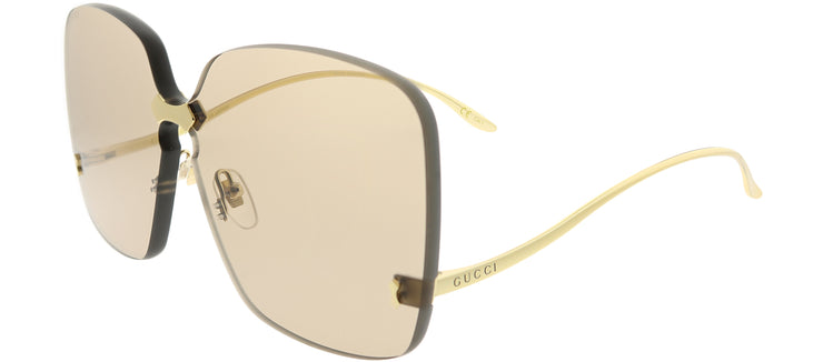 Gucci GG 0352S 002 Square Metal Gold Sunglasses with Light Brown Lens