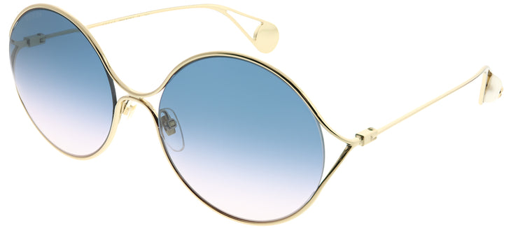 Gucci GG 0253S 003 Round Metal Gold Sunglasses with Blue Gradient Lens