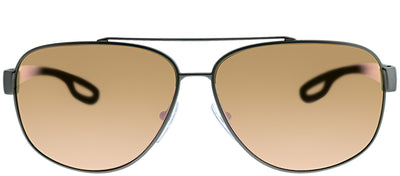 Prada Linea Rossa PS 58QS DG16Q2 Aviator Metal Ruthenium/ Gunmetal Sunglasses with Orange Mirror Lens