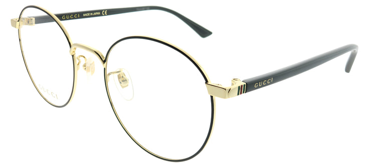 Gucci Korean Fit GG 0297OK 003 Round Metal Black Eyeglasses with Demo Lens