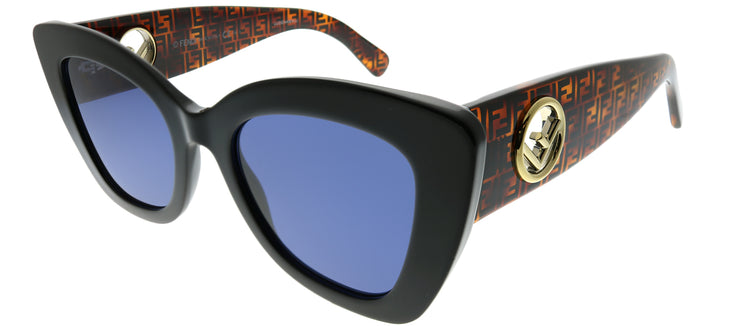 Fendi FF 0327 807 KU Cat-Eye Plastic Black Sunglasses with Blue Lens