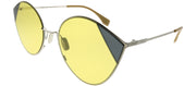 Fendi FF 0341 B1Z HO Cat-Eye Metal Silver Sunglasses with Yellow Lens
