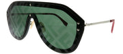 Fendi Men FF M0039/G 807 XR Shield Plastic Black Sunglasses with Green Fendi Print Lens