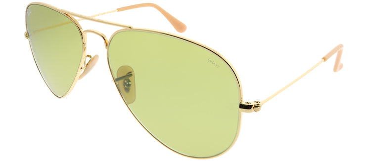 Ray-Ban RB 3025 90644C Aviator Metal Gold Sunglasses with Green Photochromatic Evolve Lens