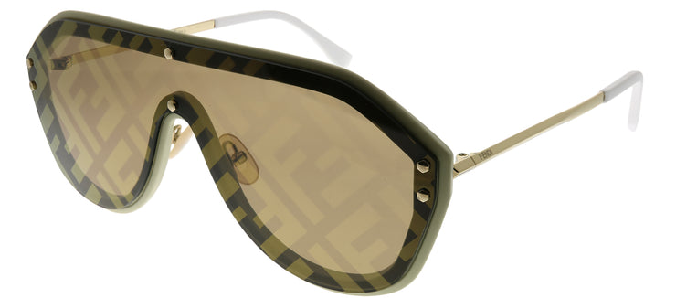 Fendi Men FF M0039/G 10A 7Y Shield Plastic Beige Sunglasses with Gold Fendi Print Mirror Lens