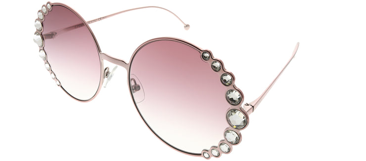 Fendi FF 0324 35J 3X Round Metal Pink Sunglasses with Pink Gradient Lens