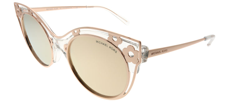 Michael Kors MK 1038 30505A Cat-Eye Metal Gold Sunglasses with Liquid Rose Gold Mirror Lens