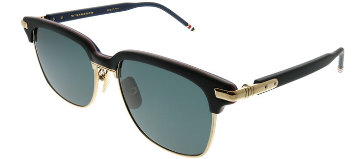 Thom Browne TB TB-713-A-BLK-GLD-55 Square Plastic Black Sunglasses with Dark Grey AR Lens