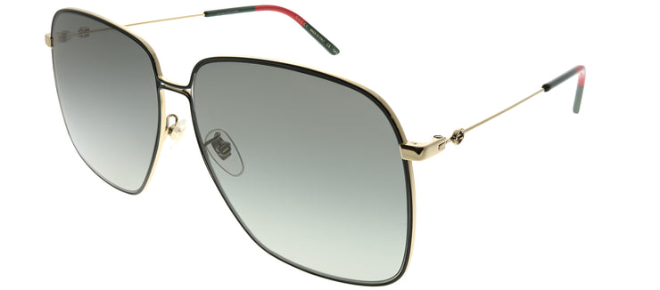 Gucci GG 0394S 001 Square Metal Black Sunglasses with Grey Gradient Lens