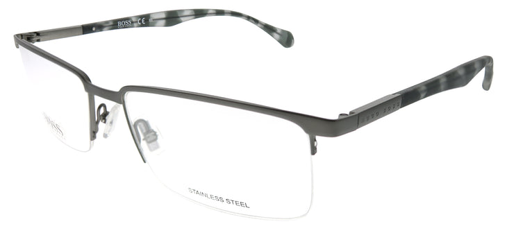 Hugo Boss BOSS 829 Z2F Semi-Rimless Metal Silver Eyeglasses with Demo Lens