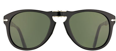 Persol PO 714 95/58 Round Plastic Black Sunglasses with Green Lens