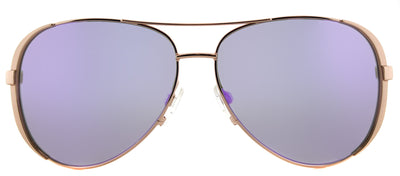 Michael Kors Chelsea MK 5004 10034V Aviator Metal Gold Sunglasses with Purple Mirror Lens
