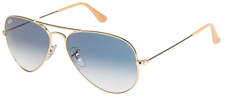 Ray-Ban RB 3025 001/3F Aviator Metal Gold Sunglasses with Light Blue Gradient Lens