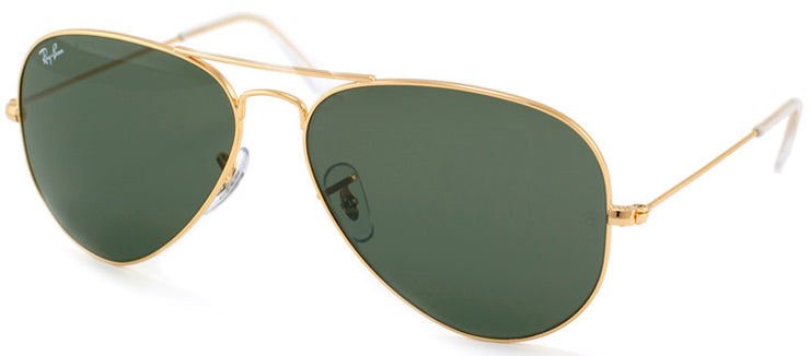 Ray-Ban RB 3025 L0205 Aviator Metal Gold Sunglasses with Crystal Green Lens