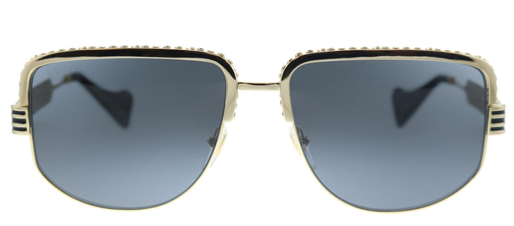 Gucci GG 0585S 001 Aviator Metal Gold Sunglasses with Grey Lens