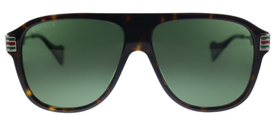 Gucci GG 0587S 002 Aviator Plastic Tortoise/ Havana Sunglasses with Green Lens