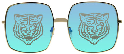 Gucci GG 0414S 004 Square Metal Gold Sunglasses with Rainbow Mirror Tiger Logo Lens