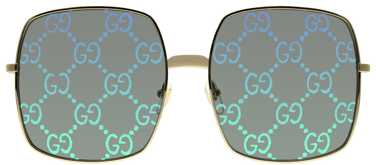 Gucci GG 0414S 003 Square Metal Gold Sunglasses with Green Mirror Gucci Logo Lens
