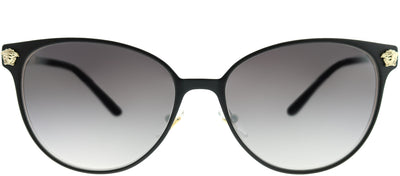 Versace VE 2168 13776I Round Metal Black Sunglasses with Grey Mirror Gradient Lens