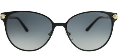 Versace VE 2168 1377T3 Round Metal Black Sunglasses with Grey Gradient Polarized Lens