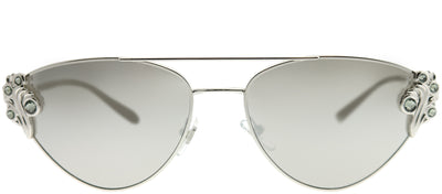 Versace VE 2195B 10006G Cat-Eye Metal Silver Sunglasses with Silver Mirror Lens