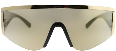 Versace VE 2197 10005A Shield Metal Gold Sunglasses with Gold Mirror Lens