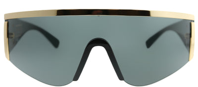 Versace VE 2197 100087 Shield Metal Gold Sunglasses with Grey Lens