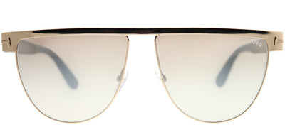 Tom Ford TF 570 28G Rectangle Metal Gold Sunglasses with Brown Mirror Gradient Lens