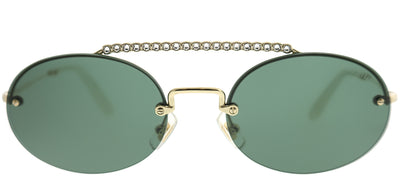 Miu Miu MU 60TS ZVN3O1 Oval Metal Gold Sunglasses with Green Lens