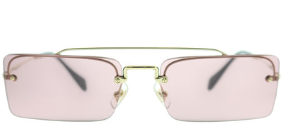 Miu Miu MU 59TS ZVN9G1 Rectangle Metal Gold Sunglasses with Light Pink Lens