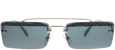 Miu Miu MU 59TS KJT2K1 Rectangle Metal Silver Sunglasses with Grey Lens