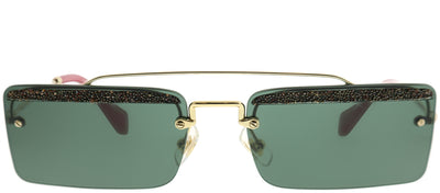 Miu Miu MU 59TS KI63O1 Rectangle Metal Gold Sunglasses with Green Lens
