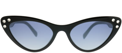 Miu Miu MU 05TS 1AB3A0 Cat-Eye Plastic Black Sunglasses with Blue Mirror Gradient Silver Lens