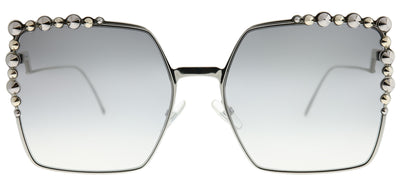 Fendi FF 0259 010 IC Square Metal Silver Sunglasses with Silver Mirror Gradient Lens