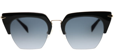 Rag & Bone RNB 1007/S 2M2 9O Cat-Eye Metal Black Sunglasses with Dark Grey Gradient Lens