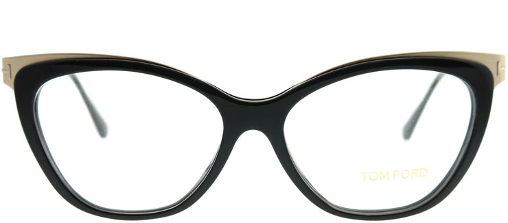 Tom Ford FT 5374 001 Cat-Eye Metal Black Eyeglasses with Demo Lens