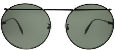 Alexander McQueen AM 0137SA 002 Round Metal Black Sunglasses with Grey Lens