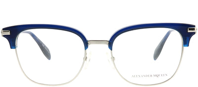Alexander McQueen AM 0152O 004 Square Metal Blue Eyeglasses with Demo Lens