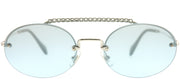 Miu Miu MU 60TS 1BC096 Oval Metal Silver Sunglasses with Azure Mirror Gradient Lens