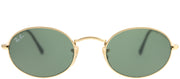 Ray-Ban RB 3547N 001 Oval Metal Gold Sunglasses with Green Lens