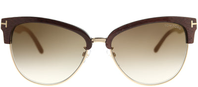 Tom Ford TF 368 50G Square Plastic Brown Sunglasses with Brown Mirror Gradient Lens