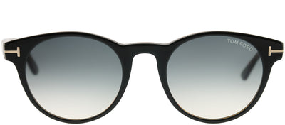 Tom Ford TF 522 05B Round Plastic Black Sunglasses with Grey Gradient Lens