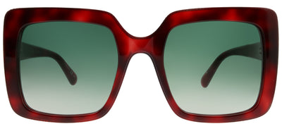 Stella McCartney SC 0093S 002 Square Plastic Tortoise/ Havana Sunglasses with Green Gradient Lens