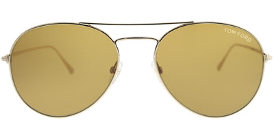 Tom Ford TF 551 28E Aviator Metal Gold Sunglasses with Brown Lens