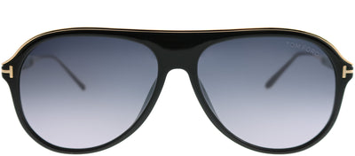 Tom Ford TF 624 01C Aviator Plastic Black Sunglasses with Grey Mirror Lens