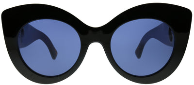 Fendi FF 0306 WR7 KU Cat-Eye Plastic Black Sunglasses with Blue Lens